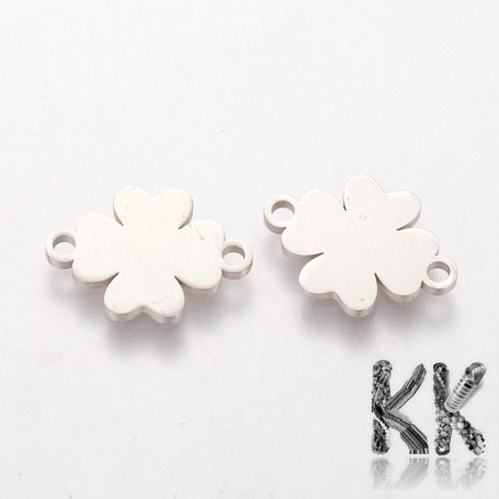 304 Stainless steel intermediate link - four-leaf clover - 15.5 x 11.2 x 1 mm