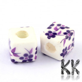 Porcelain beads - printed - 10 x 10 x 10 mm - cube