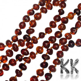 Natural Baltic amber nuggets - 4 - 6 x 4 - 7 mm - brown