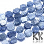 Tumbled nuggets made of natural mineral kyanite with dimensions 7-10 x 6-9 x 4-5 mm and with a hole for a thread with a diameter of 1 mm. The beads are completely natural without any dye. Country of origin Switzerland, India, Brazil THE PRICE IS FOR 1 PCS.