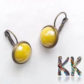 Earrings with waxed stud - old bronze