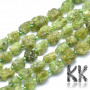 Natural nuggets from the raw mineral peridote measuring 9-14 x 7.5-9 mm with a hole for a thread with a diameter of 1 mm. The beads are completely natural without any dye. Country of origin China, Burma THE PRICE IS FOR 1 PCS.