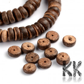 Coconut shell beads - roundels - 10 x 3 - 6 mm