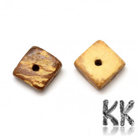 Coconut shell beads - cube - 10 x 10 x 3-4 mm - weight 1 g (approx. 3-5 pcs)
