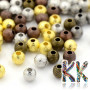 Brass beads with a shimmering surface with a diameter of 4 mm. THE PRICE IS FOR 1 g. (Minimum amount 5 g). (1 g is about 11 pcs).