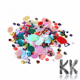 Sequins - 1.4-18.5 x 1.4-22 x 0.2-2.2 mm - random mix of colors and shapes - amount 50 g