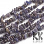Tumbled beads in the shape of small chips made of natural mineral tanzanite with dimensions of 1.5 - 4.5 x 6.5 - 11.5 mm and with a hole for a thread with a diameter of 1 mm. The beads are absolutely natural without any dyeing. Country of origin: Tanzania THE PRICE IS FOR 1 g.