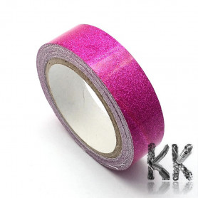 Cotton ribbon - self-adhesive with glitter - width 15 mm - 1 reel (roll 4 m)