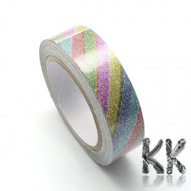 Cotton ribbon - self-adhesive with glitter and motif - width 15 mm - 1 roll (roll 4 m)