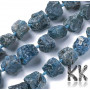 Beads in the shape of raw nuggets made of natural mineral apatite measuring 16.5-26 x 16.5-29 mm with a hole for a thread with a diameter of 1.5 mm. The beads are completely natural without any dyeing. THE PRICE IS FOR 1 PCS.