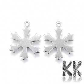 Pendant made of 304 stainless steel - snowflake - 19.5 x 15 x 0.7 mm