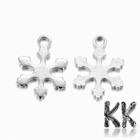 Pendant made of 304 stainless steel - snowflake - 12 x 9 x 0.8 mm