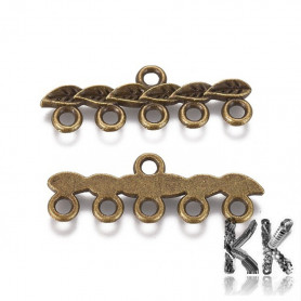 Zinc alloy hanger - rod with leaves - 10 x 26 x 2 mm