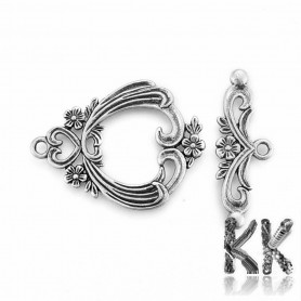 American zinc alloy fastening - with floral decor - 38 x 29 x 2.5 mm