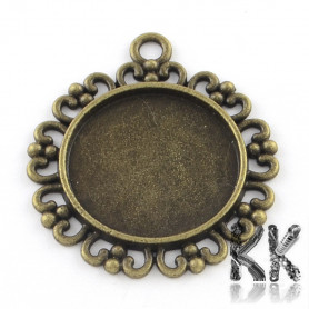 Zinc alloy pendant with bed - circle with ornaments - 34 x 30 x 2 mm