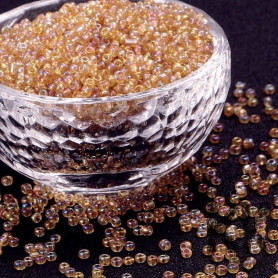 Chinese seed beads - 6/0 - transparent with AB plating - weight 1 g