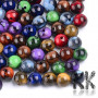 Plastic round beads made of acrylic materialin a size of 8 x 7.5 mm and a hole for a thread with a diameter of 1.8 mm. Beads imitate the appearance of minerals. Notice - The beads are offered in packs of 10 grams and the color composition of each pack is purely random. The color composition in the illustration is so purely indicative. THE PRICE IS FOR 10 g.
