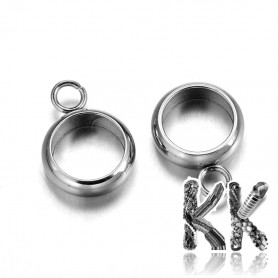 304 stainless steel bead with eye - 11 x 8 x 2.5 mm