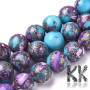 Round beads made of tyrkenite (or synthetic turquoise) mixed with pieces of natural charoite and surface coated with a silver vein with a diameter of 8 - 8.5 mm and a hole for a thread with a diameter of 1 mm. The beads have beautiful decors similar to real natural minerals, but they are man made. THE PRICE IS FOR 1 PCS.