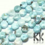 Tumbled beads in the shape of lentils from the rarest mineral on the planet - larimar or dolphin stone. The beads have dimensions of 10 x 5.5 mm and a hole for a thread with a diameter of 1 mm. The beads are absolutely natural, without any dyeind. Country of origin: Dominican Republic THE PRICE IS FOR 1 PCS.