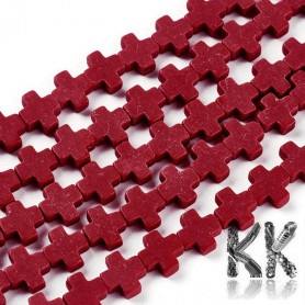 Synthetic coral - colored cross - 7.5 - 8.5 x 8 - 9 x 3 - 3.5 mm