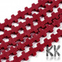 Tumbled beads in the shape of crosses made of synthetic coral with dimensions 7.5-8.5 x 8-9 x 3-3.5 mm and with a hole for a thread with a diameter of 1 mm. THE PRICE IS FOR 1 PCS.