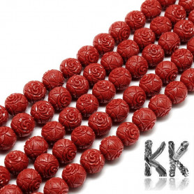 Synthetic coral - Ø 8 mm - colored balls with roses