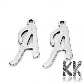 Pendant made of 304 stainless steel - letters - 11.5 x 11 x 1 mm