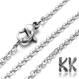 304 Stainless steel necklace chain with carabiner - length 45 cm
