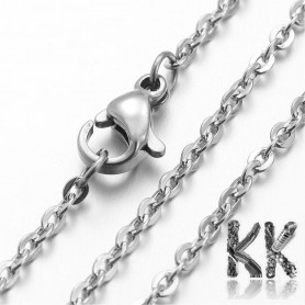 304 Stainless steel necklace chain with carabiner - length 40 cm