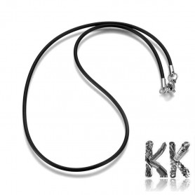 Rubber necklace with carabiner made of 304 stainless steel - length 40.5 cm