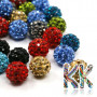Shamballal bead with a diameter of 10 mm, the base of which is a ball of polymer, which is set with cut glass stones. For stones set in beads, the manufacturer guarantees a higher quality cut in grade A. THE PRICE IS FOR 1 PCS.