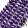 Glass round beads with a reflection of cat eyes with a diameter of 8 mm and a hole for a draw with a diameter of 1 mm. Beads are sold whole strings. There are approx. (48 to 55 pieces of beads) on one string.  THE MENTIONED PRICE IS FOR 1 LINE / Approx