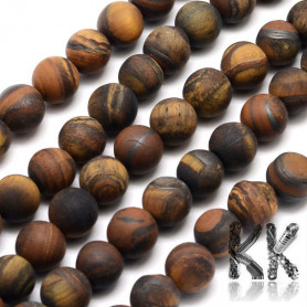 Natural Frosted Tiger Eye - Round Beads - Ø 8 mm, Hole: 1 mm