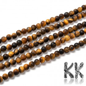 Natural Frosted Tiger Eye - Round Beads - Ø 4 mm, Hole: 1 mm - Grade A