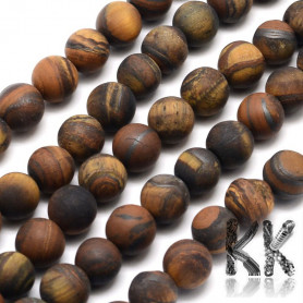 Natural Frosted Tiger Eye - Round Beads - Ø 4 mm, Hole: 0,8 mm