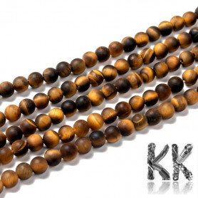 Natural Frosted Tiger Eye - Round Beads - Ø 6 mm, Hole: 1 mm - Grade A