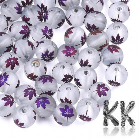 Glass transparent frosted  electroplated round beads - with maple leaf decor - Ø 8-8.5 mm, Hole: 1.5 mm