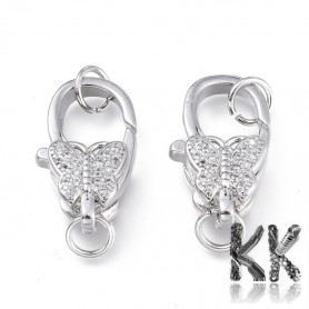 Luxury Brass Lobster Claw Clasp with Zircons - Butterfly - 16 x 9.5 x 6 mm, Hole: 3,5 mm