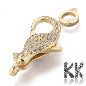 Luxury Brass Lobster Claw Clasp with Zircons - penguin - 28 x 15 x 8 mm, Hole: 1,4 mm
