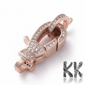 Luxury Brass Lobster Claw Clasp with Zircons Real Rose Gold Plated - 22.8 x 12 x 4.8 mm, Hole: 1,2 mm