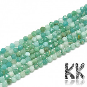 Natural Russian Amazonite Faceted - Round Bead - Ø 2 mm, hole: 0,3 mm