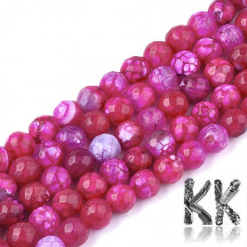 Natural Crackle Agate Dyed Faceted - Round Bead- Ø 6 mm, hole: 1 mm