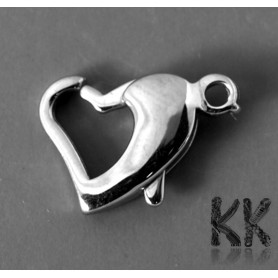 304 Stainless steel lobster claw clasp - heart - 14-16 x 9.5 x 3 mm - hole: 1.5 mm