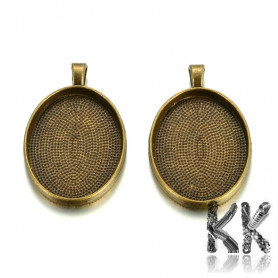 Zinc alloy pendant with Cabochon Setting - oval - 30 x 22 mm, Hole: 5 x 3 mm Lead & Nickel & Cadmium Free