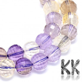 Natural Faceted Ametrine - Round Beads - Ø 6 mm, Hole: 0.7 mm