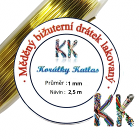 Copper wire - Plated - Ø 1 mm - length 2.5 m