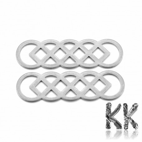 201 Stainless Steel Link Connector - Chinese Lucky Knot - 40 x 11.5 x 0.8 mm, Hole: 3 - 8.5 mm