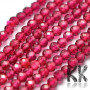 Tumbled round faceted beads made of synthetic material imitating natural ruby with a diameter of 3.5 mm and a hole for a thread with a diameter of 0.6 mm. The beads have a beautifully rich color typical for ruby. Country of origin China THE PRICE IS FOR 1 PCS.