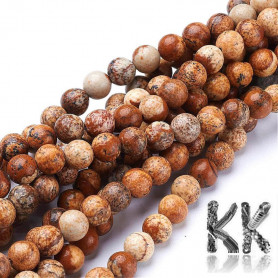 Natural Picture Jasper - Round Beads - Ø 6 mm, Hole: 0.8 mm